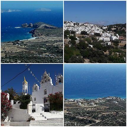 Église à Filoti et baie de Moutsouna Naxos island