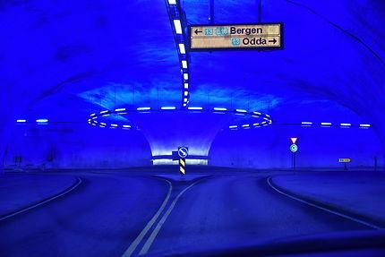 Rond point dans le tunnel de Laerdal