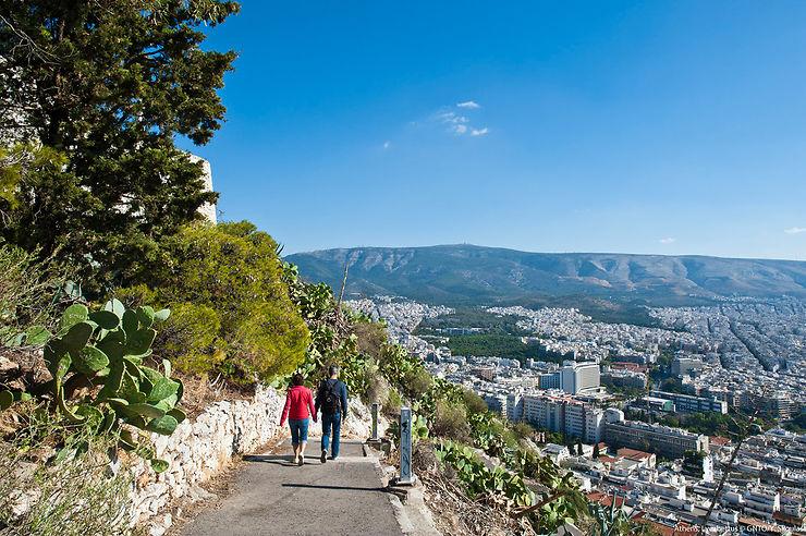 Le Lycabette et Philopappos : collines avec vue sur Athènes