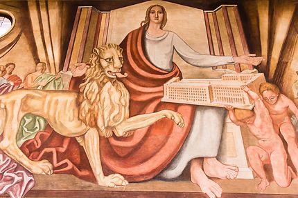 Lyon - Détail de la fresque de la Grande Poste