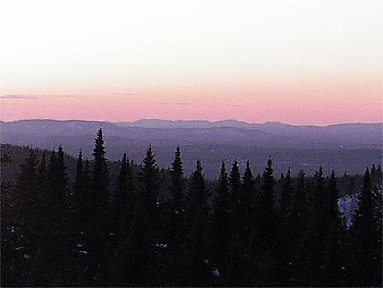 Ciel rosé d'hiver sur l'Abitibi