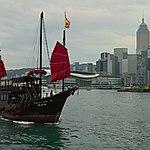 Jonque dans la baie de Hong Kong