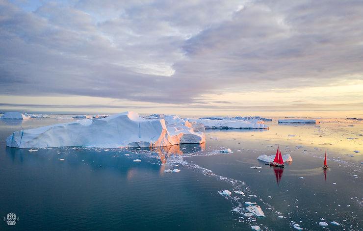 Balade nocturne dans la baie d'Ilulissat, Groenland