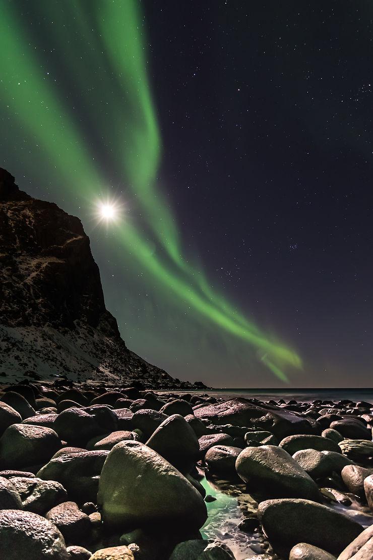 Lune et aurore boréale, Norvège, par Stephan.R