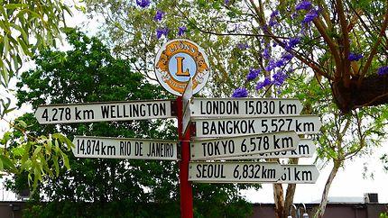 Panneau distances à Alice Springs