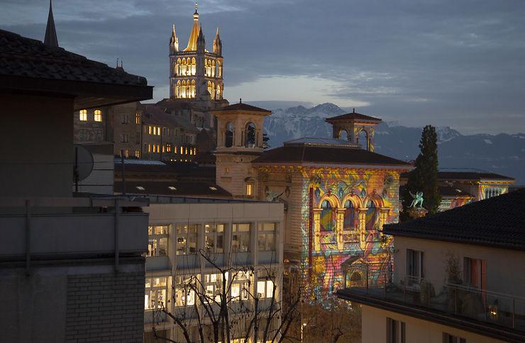 Illuminations de noël à Lausanne, Suisse