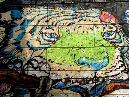 Street art sur un immeuble abandonné