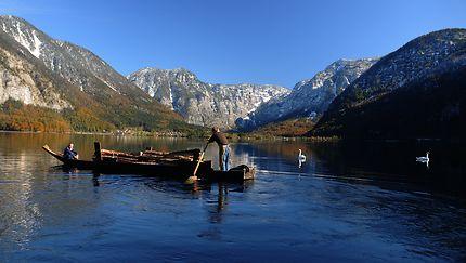 Transport de bois sur le lac de Hallstatt