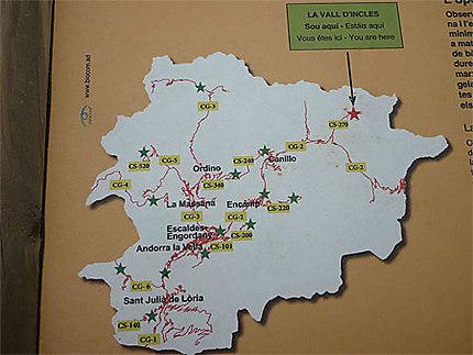 Positionnement de la Vallée d'Inclès sur le territoire Andorran