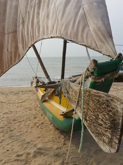 Bateau sur la plage de Negombo