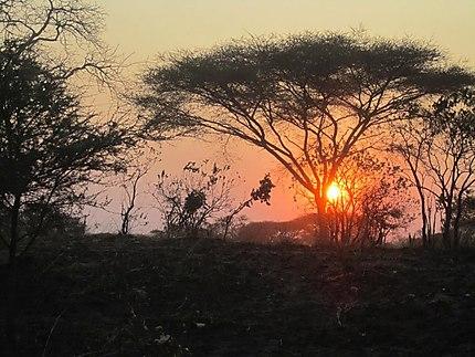 Coucher de soleil à l'Akagera