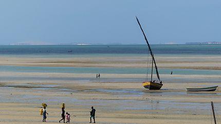 Plage de Vilankulo à marée basse