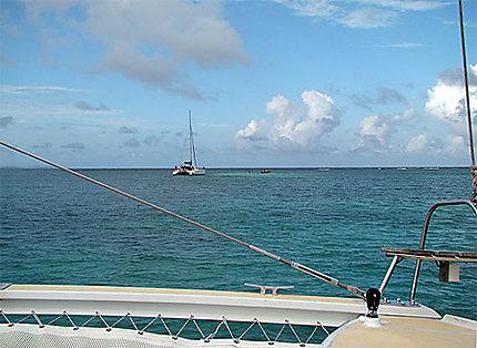 Catamaran de rêve vu de loin