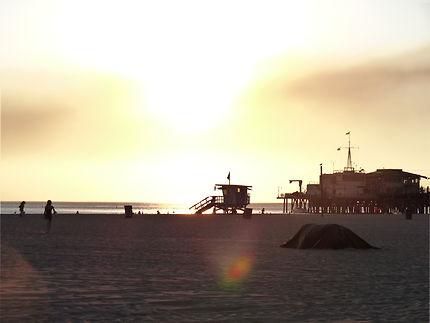 Coucher de soleil sur Monica beach