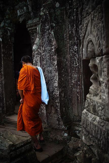 Moine à Angkor Thom, Cambodge