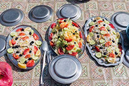 Tin Merzouga - Notre déjeuner, de belles salades