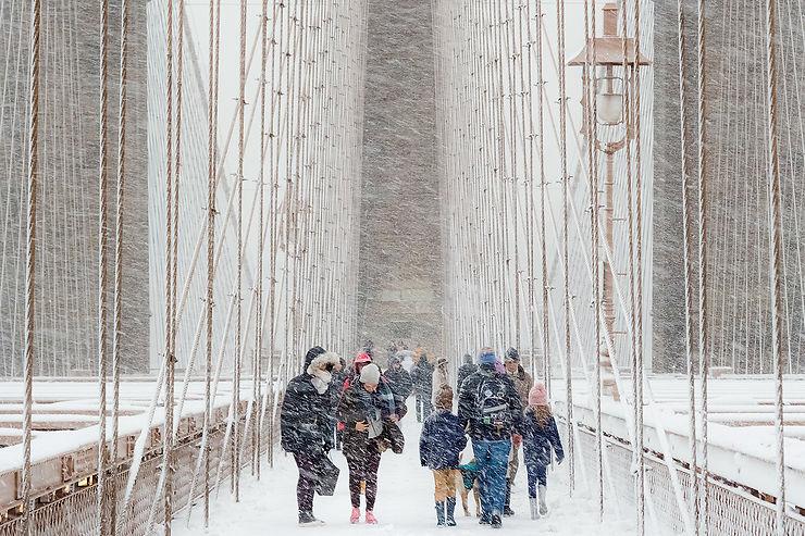 Brooklyn Bridge dans le blizzard, New York