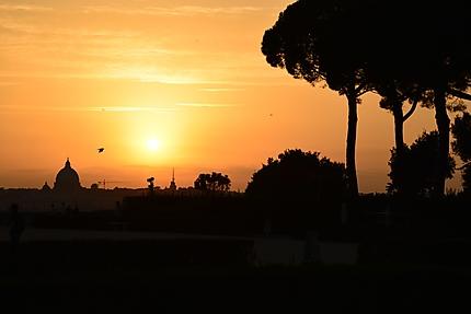 Rome, coucher de soleil depuis la Villa Médicis