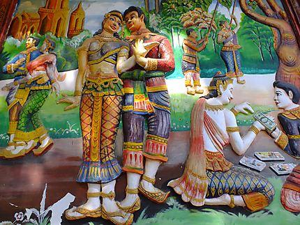 Sur le mur d'un temple