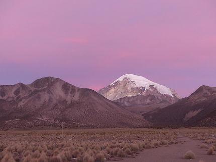 Parc national sajama au coucher de soleil