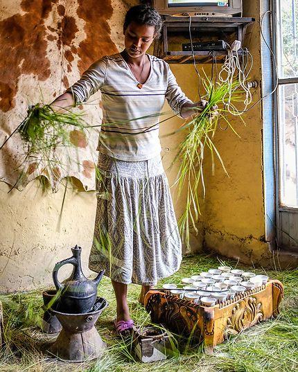 Cérémonie du café en Ethiopie