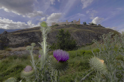 Sion au printemps, les ruines de Tourbillon