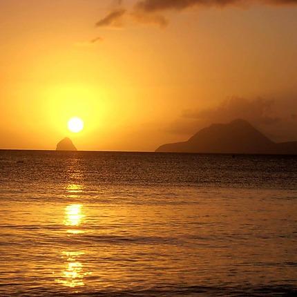 Coucher de soleil sur le rocher du Diamant
