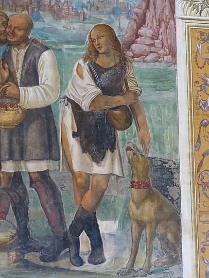 Fresque, détail,abbazzia di Monte Oliveto Maggiore