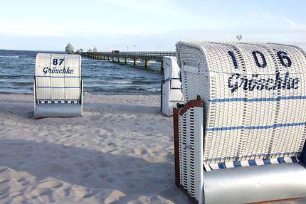 Strandkorbs sur la Plage de GROMITZ (Allemagne)