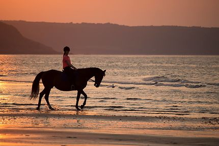 Balade du soir sur une plage normande