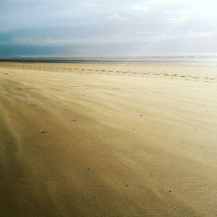 Vent balayant la plage à marée montante