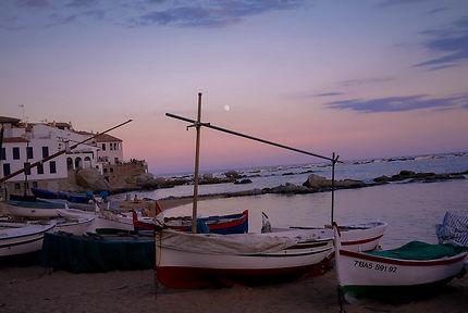 Coucher de soleil & barques catalanes