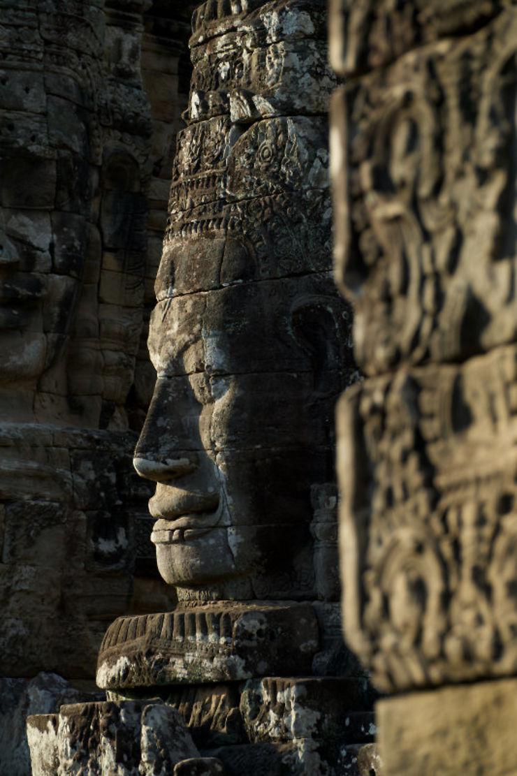 Tête sculptée du Bayon d'Angkor Thom, Cambodge