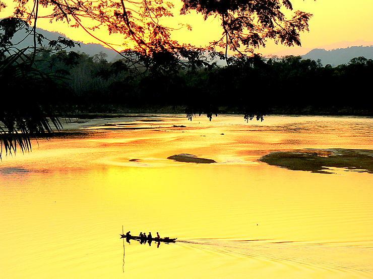 Coucher de soleil sur le Mékong, Laos