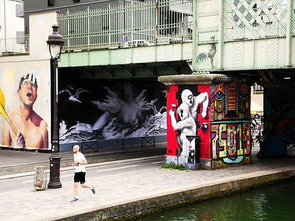 Street Art le long du canal de l'Ourcq