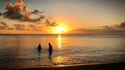 Coucher de soleil au diamant en Martinique