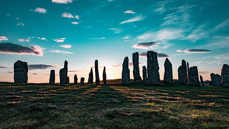 Callanish au coucher du soleil, Écosse