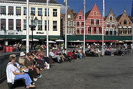 Façades, Grand-Place, Bruges, Belgique