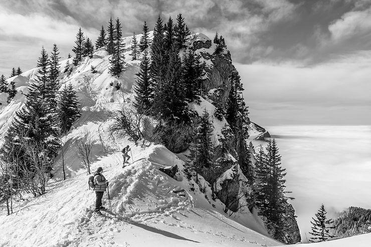 Raquette pour l'ascension de la pointe d'Andey, Haute-Savoie