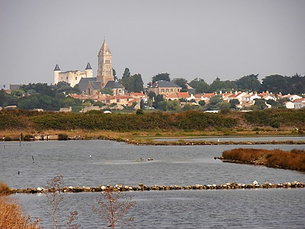 Vue sur Noirmoutier-en-l'Ile depuis les marais