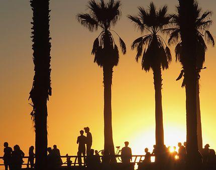 Coucher de soleil à Venice Beach Los Angeles