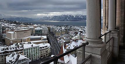 Vue de Lausanne en hiver
