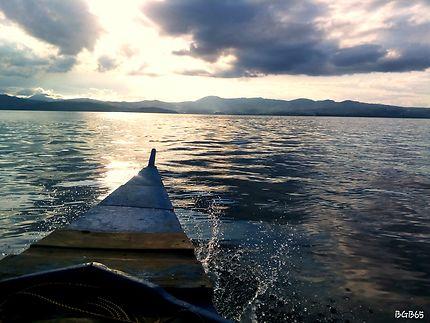 Sunset in boat