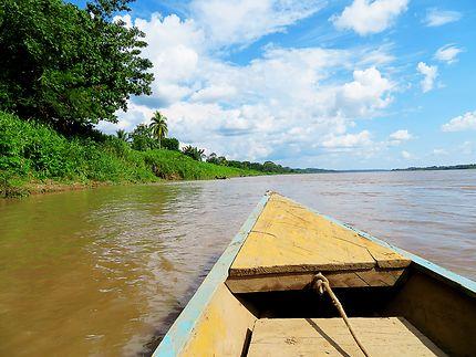 En pirgogue sur le fleuve Amazone