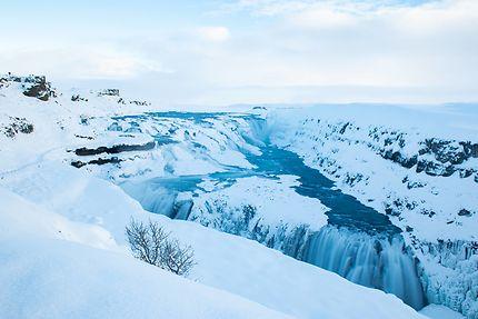 Cascade enneigée à Gullfoss