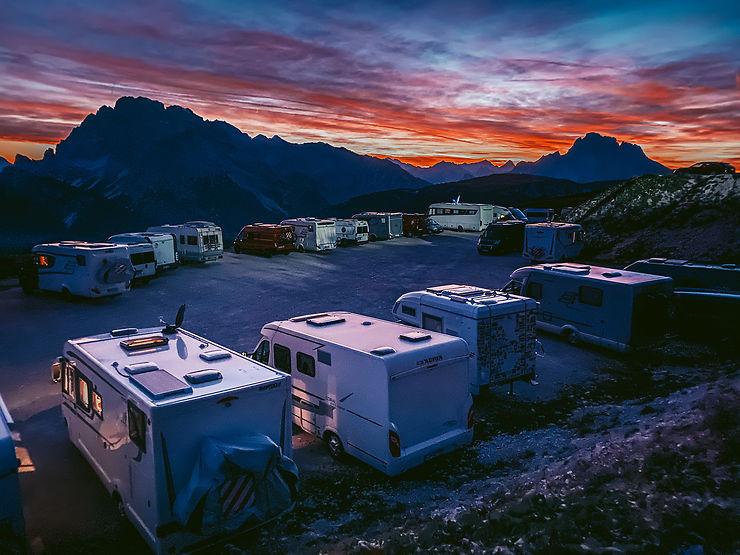Coucher de soleil dans les Dolomites, Auronzo di Cadore, Italie