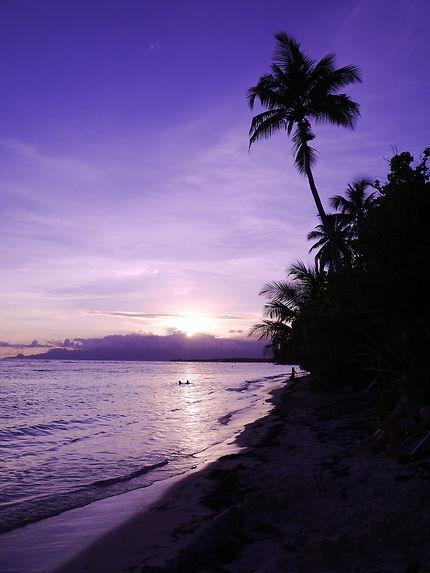 Coucher de soleil sur la plage de Bois Jolan