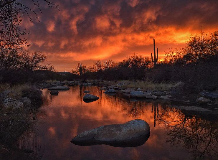 Reflet au crépuscule, Santa Catalina Mountains, Arizona