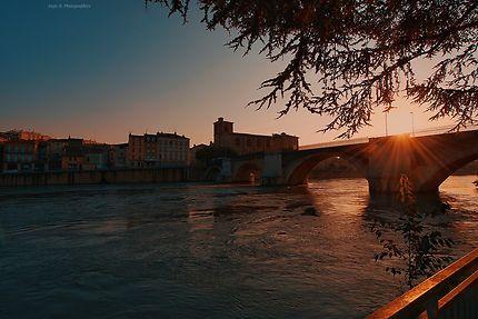 Coucher de soleil sur le pont de Romans-sur-Isère