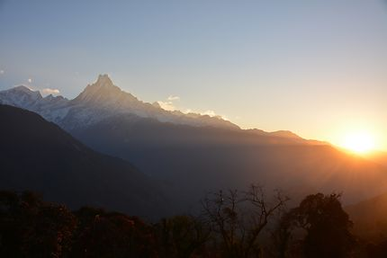 Lever du soleil sur le sommet du Machapuchare